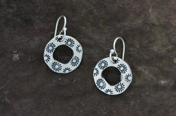 Sterling Silver Floral Stamped Hoop Earrings