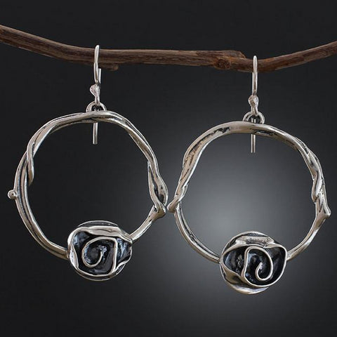 Sterling Silver Vine Hoop Earrings with Rose