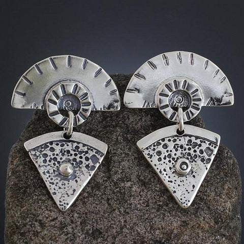 Sterling Silver Geometric Fan Earrings