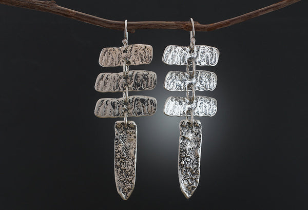 Sterling Silver Tree Bark Earrings