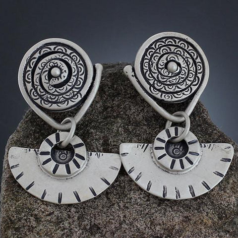 Sterling Silver Textured Spiral with Fan Drop Earrings