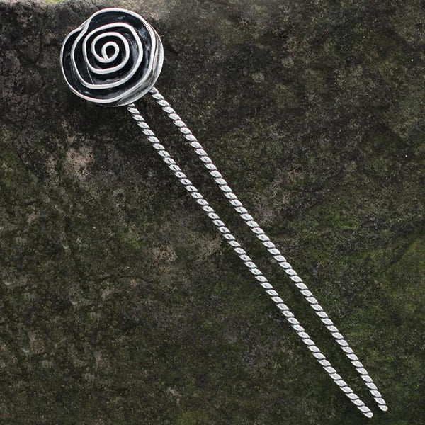 Sterling Silver Rose Hair Pin