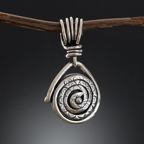 Sterling Silver Textured Spiral Pendant