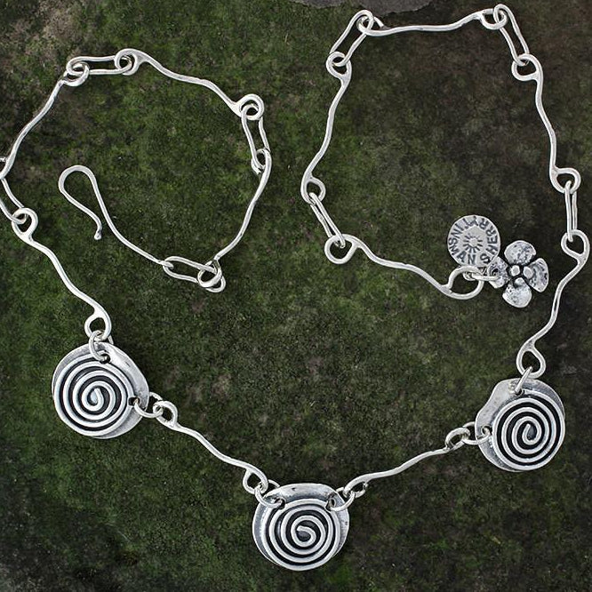 Sterling Silver Triple Spiral Necklace