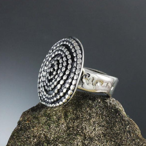 Sterling Silver Large Beaded Spiral Ring