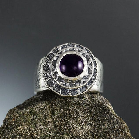 Sterling Silver and Amethyst in Double Textured Bezel Ring