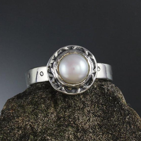 Pearl Ring with Textured Bezel
