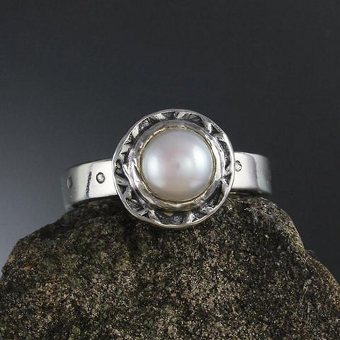 Sterling Silver Pearl Ring with Textured Bezel