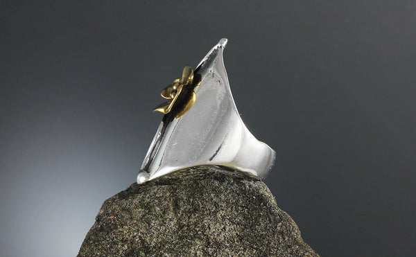 Gold Dogwood Shield Ring