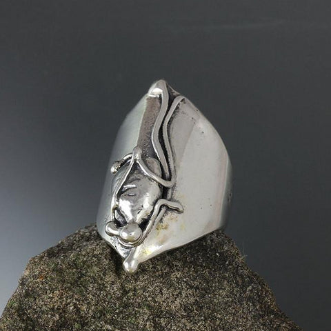 Sterling Silver Abstract Shield Ring - Size 7 1/4