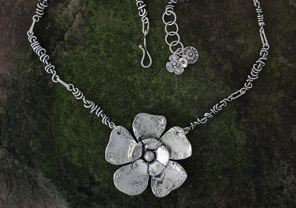 Large Double Flower Necklace on wrapped Vine Chain
