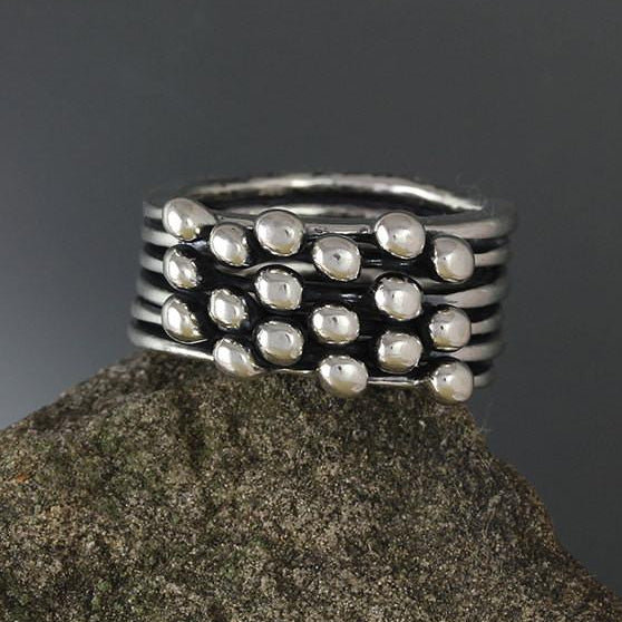 Sterling Silver Six Band Blanche Ring