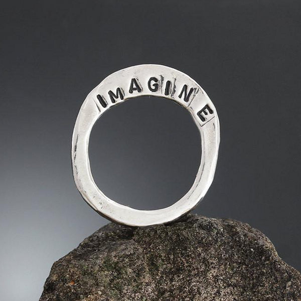 Sterling Silver Imagine Stamped High Flare Ring