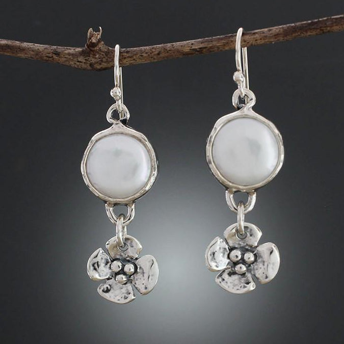 Sterling Silver Pearl Earrings with Dogwood Flower Drop