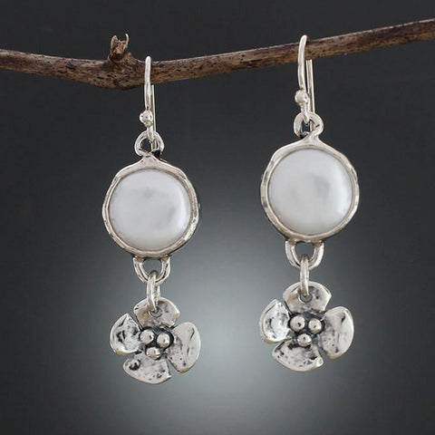 Pearl Earrings with Dogwood Flower Drop