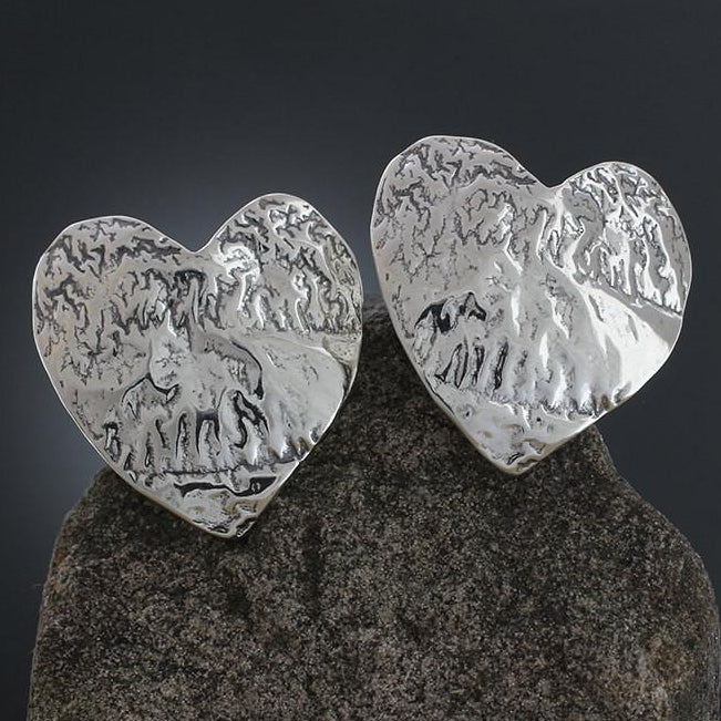 Large Textured Heart Earrings