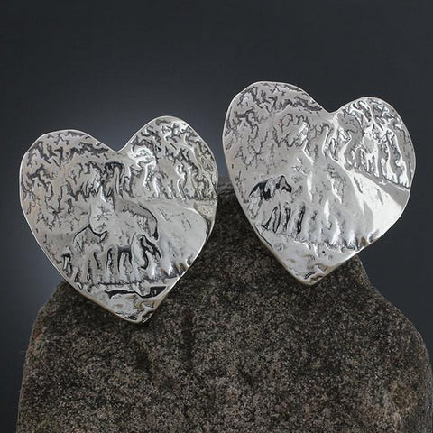 Sterling Silver Large Textured Heart Earrings