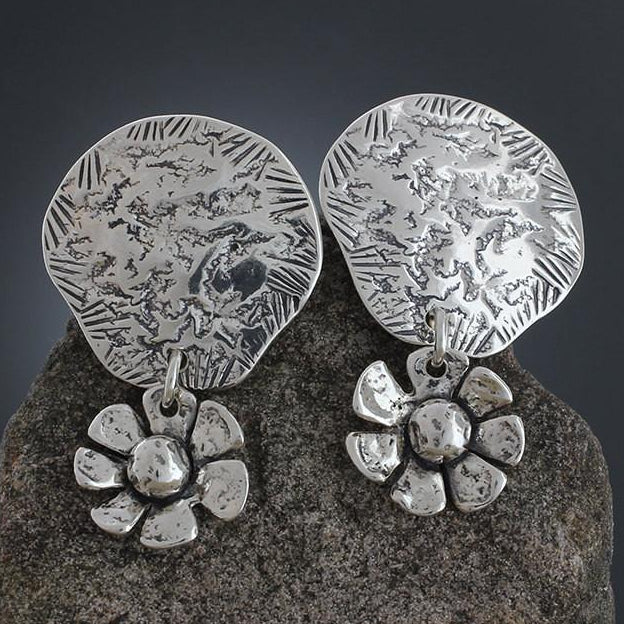 Sterling Silver Reticulated Disk with Daisy Dangle Earrings