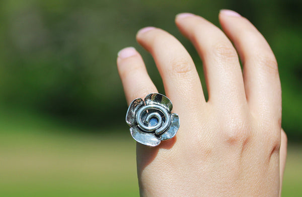 Sterling Silver Large Spiral Flower Ring
