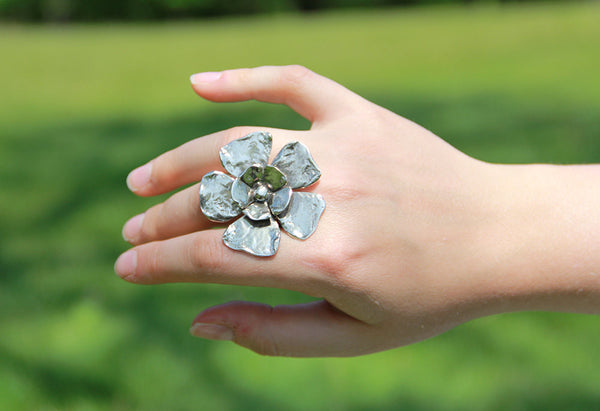 Sterling Silver Large Double Flower Ring