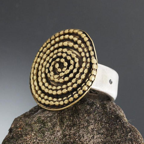 Large Brass Beaded Spiral Ring with Sterling Silver Band