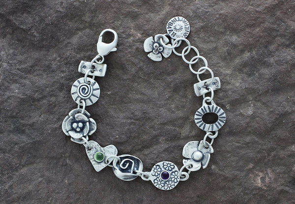 Sterling Silver Mixed Element Peridot and Amethyst Bracelet