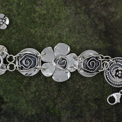 Sterling Silver Petal Rose Center Bracelet with Roses, Spiral Heart & Beaded Spiral with Dogwood