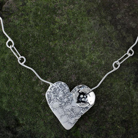 Sterling Silver Heart with Dogwood Flower Necklace