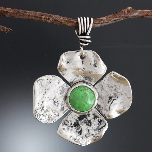 Sterling Silver Flower Pendant with Gaspeite