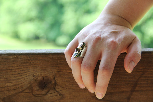 Sterling Silver and Brass Dogwood Shield Ring