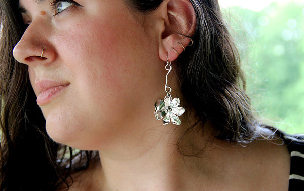 Sterling Silver Windflower on Vine Earrings