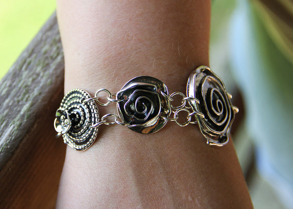 Sterling Silver Large Rose Center Bracelet with Roses, Spiral Heart & Beaded Spiral with Dogwood