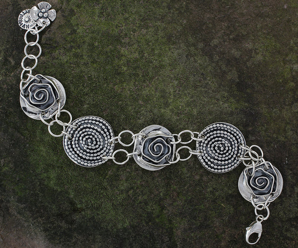 Sterling Silver Beaded Spiral and Rose Bracelet