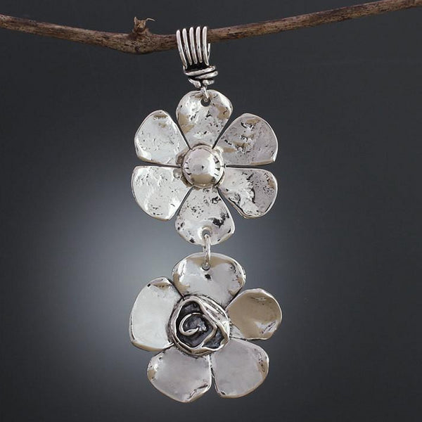 Sterling Silver Petal Rose & Ball Flower Pendant