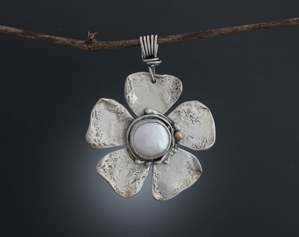 Sterling Silver Pearl Flower Pendant with Rose Gold Accent