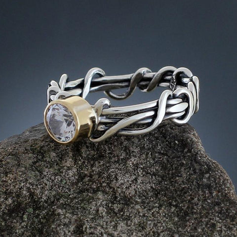 Sterling Silver Wrapped Vine Ring with CZ in Gold Bezel