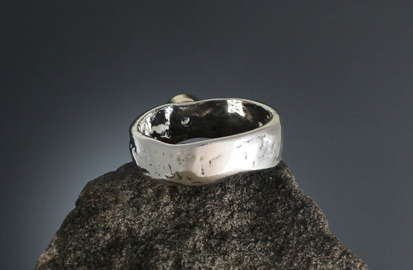 Sterling Silver Stamped Band with CZ in Gold Bezel Ring