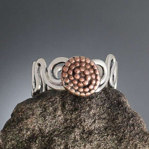 Sterling Silver Abstract Vine Ring with Copper Beaded Spiral - Size 12