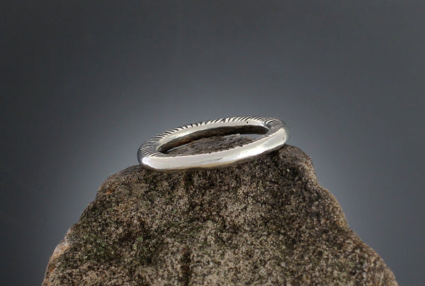 Sterling Silver Radial Stamped Ring