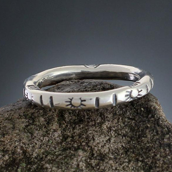 Sterling Silver Sunburst & Line Stamped Ring