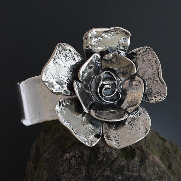 Sterling Silver Large Double Petal Rose Flower Cuff Bracelet