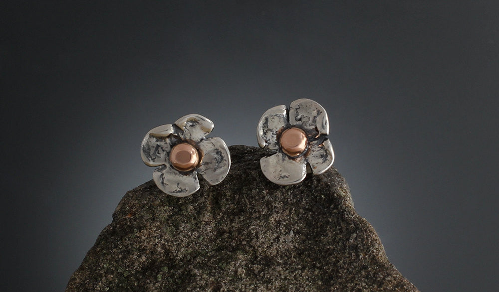 Sterling Silver Dogwood Flower Earrings with Rose Gold Center