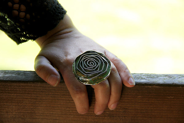 Sterling Silver Large Rose Ring