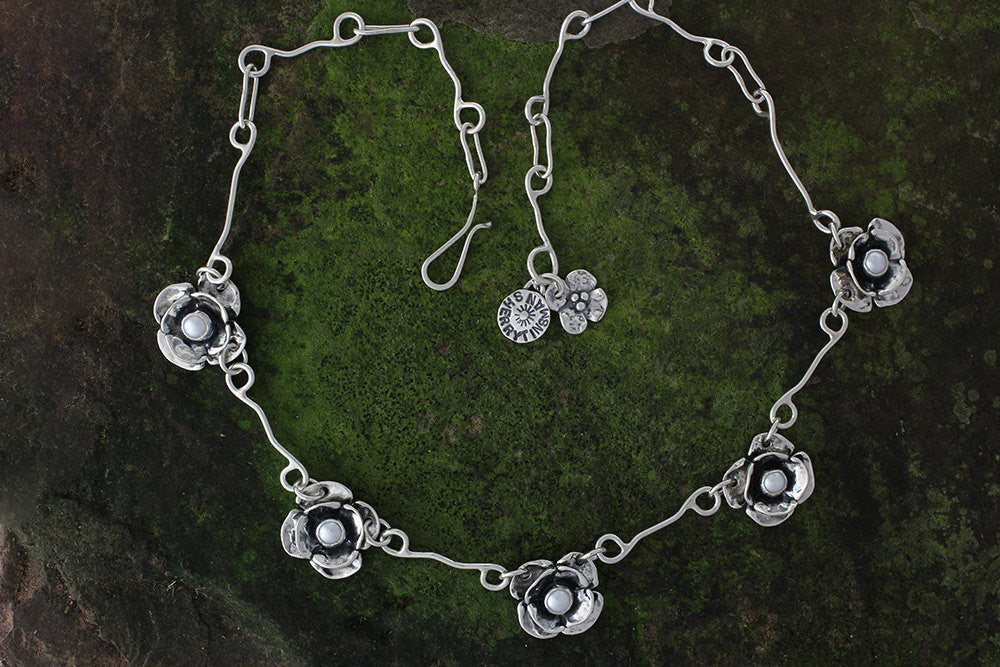 Sterling Silver Five Double Dogwood Flower Pearl Necklace