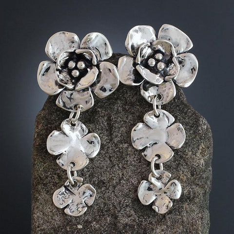 Sterling Silver Double Dogwood Earrings with Two Flower Drop