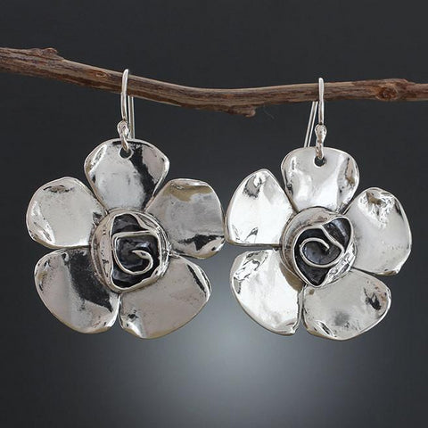 Sterling Silver Petal Rose Flower Earrings
