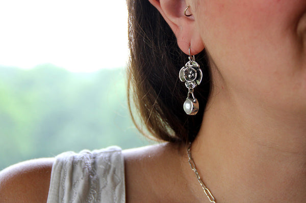 Double Dogwood Earrings with Pearl Drop