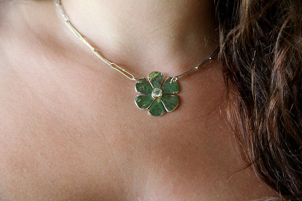 Sterling Silver Flower with Cubic Zirconia in Gold Bezel Necklace