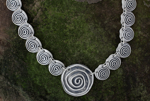 Sterling Silver Multi Spiral Necklace