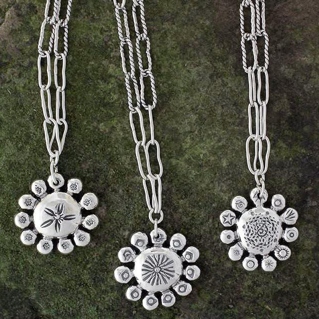 Sterling Silver Abstract Flower Charm Necklace